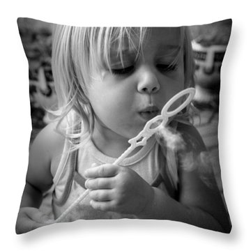 Throw Pillow featuring the photograph Bubble Fun by Laurie Perry