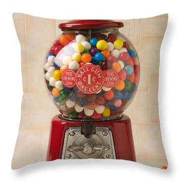 Bubble Gum Machine Throw Pillow by Garry Gay