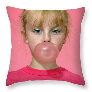 Bubble Gum Pink Throw Pillow