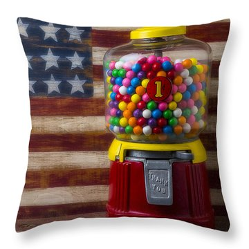 Bubblegum Machine And American Flag Throw Pillow by Garry Gay