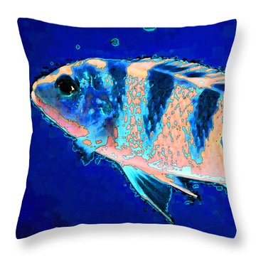 Bubbles - Fish Art By Sharon Cummings Throw Pillow by Sharon Cummings