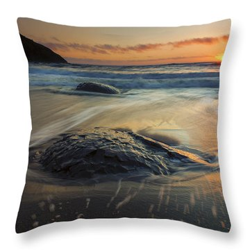 Bubbles On The Sand Throw Pillow by Mike  Dawson