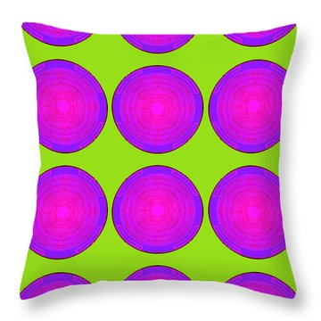 Bubbles Lime Purple Poster Throw Pillow