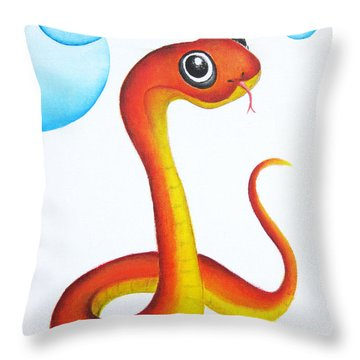 Bubbly Baby Snake Throw Pillow by Oiyee At Oystudio