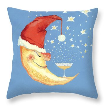 Bubbly Christmas Moon Throw Pillow by David Cooke