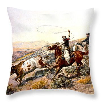 Buccaroos Throw Pillow by Charles Russell