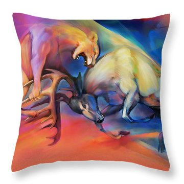 Throw Pillow featuring the painting Buck Off by Rob Corsetti