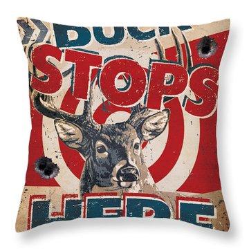 Buck Stops Here Sign Throw Pillow