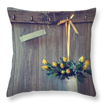 Bucket Of Roses Throw Pillow