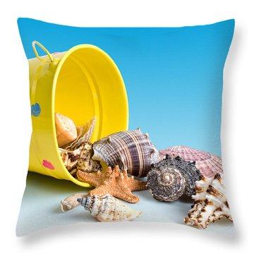 Bucket Of Seashells Still Life Throw Pillow