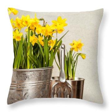 Buckets Of Daffodils Throw Pillow by Amanda Elwell