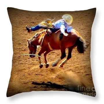 Bucking Broncos Rodeo Time Throw Pillow