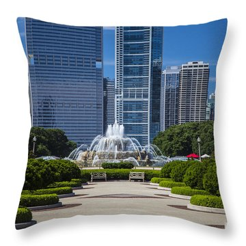 Buckingham Fountain And Path In Chicago  Throw Pillow