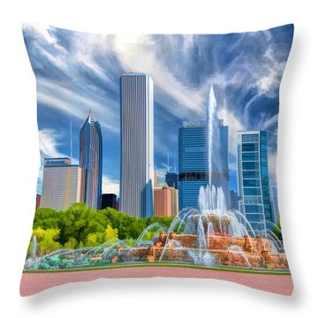 Buckingham Fountain Skyscrapers Throw Pillow