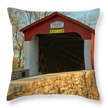 Bucks County Van Sant Covered Bridge Throw Pillow