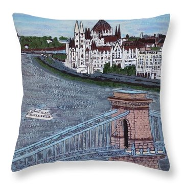 Budapest Bridge Throw Pillow by Jasna Gopic