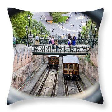 Budapest Castle Hill Funicular Throw Pillow