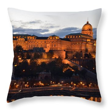 Budapest Palace At Night Hungary Throw Pillow by Imran Ahmed