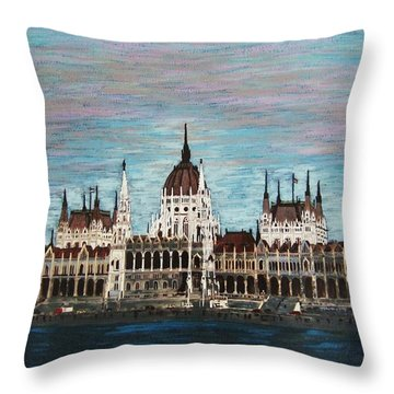 Throw Pillow featuring the painting Budapest Parliament By Jasna Gopic by Jasna Gopic