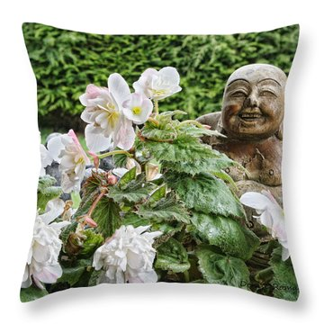 Budda And Begonias Throw Pillow by Denise Romano