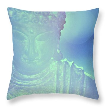 Throw Pillow featuring the photograph Buddah Bokeh by Cindy Greenstein