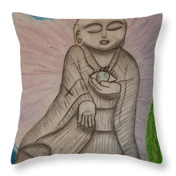 Buddha And The Eye Of The World Throw Pillow