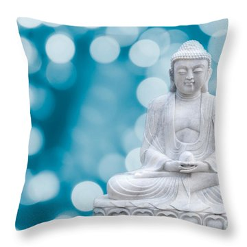 Buddha Enlightenment Blue Throw Pillow