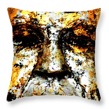Buddha Face Throw Pillow by Nola Lee Kelsey