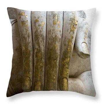 Buddha Hand Throw Pillow by Zina Zinchik