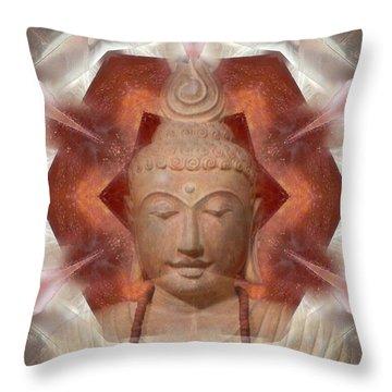 Buddha Head Crystal Mandala Throw Pillow