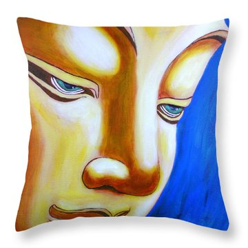Buddha Head Gazing Art Throw Pillow