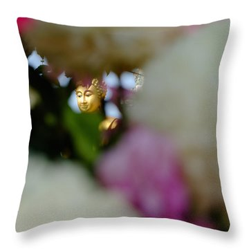 Buddha In Flowers Throw Pillow
