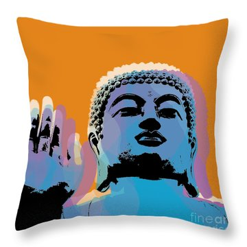 Buddha Pop Art - Warhol Style Throw Pillow