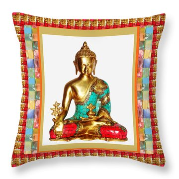 Buddha Sparkle Bronze Painted N Jewel Border Deco Navinjoshi  Rights Managed Images Graphic Design I Throw Pillow by Navin Joshi
