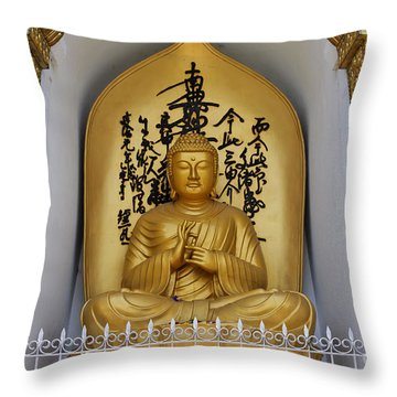 Buddha Statue At The World Peace Pagoda Pokhara Throw Pillow by Robert Preston
