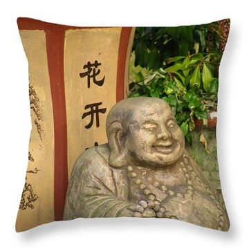 Buddha Statue In The Garden Throw Pillow by Eva Csilla Horvath