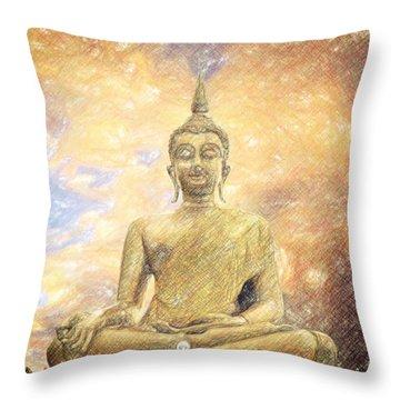 Buddha Throw Pillow by Taylan Apukovska