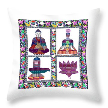 Buddha Yoga Chakra Lotus Shivalinga Meditation Navin Joshi Rights Managed Images Graphic Design Is A Throw Pillow