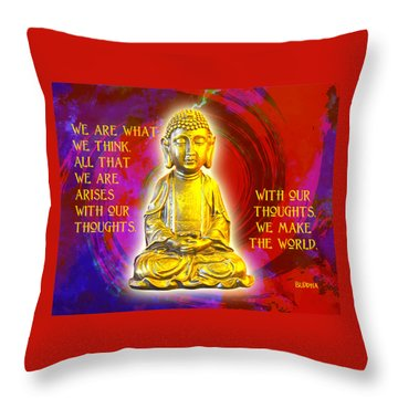 Buddha's Thoughts 2 Throw Pillow by Ginny Gaura