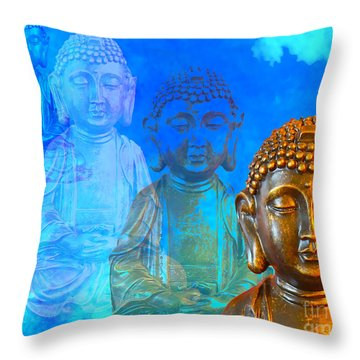 Buddha's Thoughts Throw Pillow by Ginny Gaura