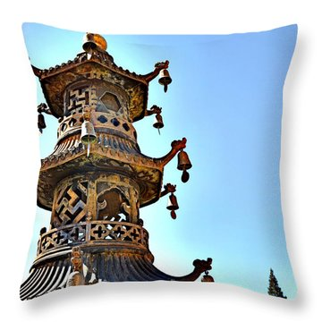 Buddhist Bells Throw Pillow