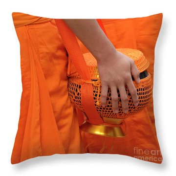Buddhist Monks Hand Throw Pillow by Bob Christopher