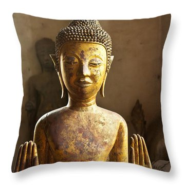 Buddhist Statues G - Photograph By Jo Ann Tomaselli  Throw Pillow