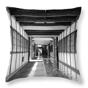Buddhist Temple In Black And White - Passageway Throw Pillow