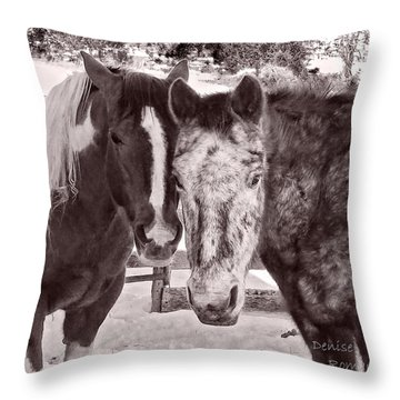 Throw Pillow featuring the photograph Buddies In Snow by Denise Romano
