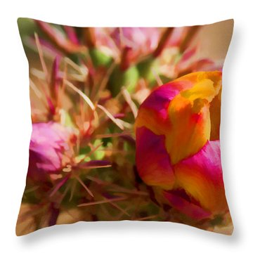 Budding Cactus Throw Pillow by Fred Larson