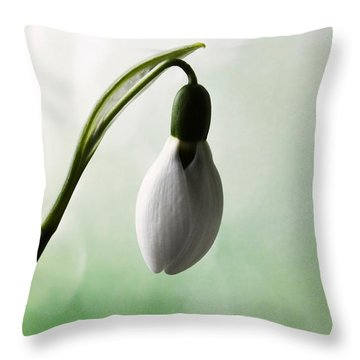 Budding Snowdrop  Throw Pillow