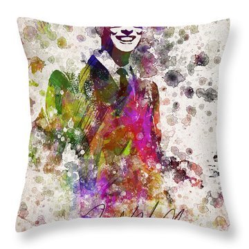 Buddy Holly In Color Throw Pillow by Aged Pixel