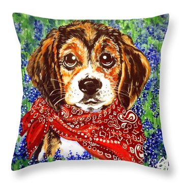 Buddy Dog Beagle Puppy Western Wildflowers Basset Hound  Throw Pillow