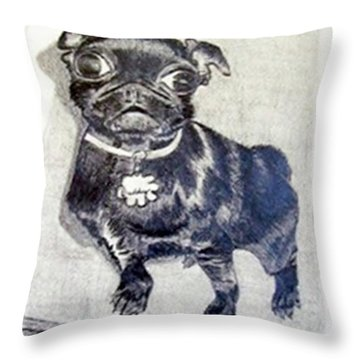 Throw Pillow featuring the drawing Buddy by Jamie Frier